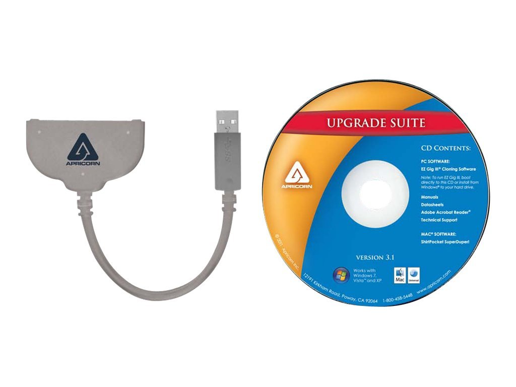 Apricorn USB 3.0 SATA Wire 2.5 inch for Hard Disk Drive, ASW-USB3-25, 12428792, Cables