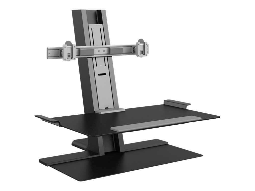 Humanscale QuickStand with Dual Display Support, 24 Crossbar, Adjustable Sit Stand Worksurface