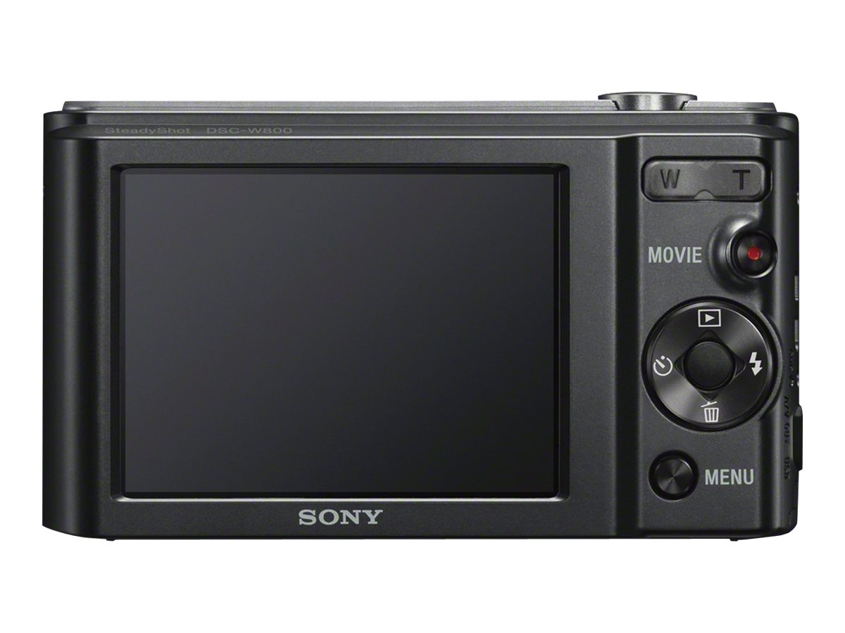 Sony Cyber-shot DSC-W800 Digital Camera, 20.1MP, 5x Zoom, Black, DSCW800/B