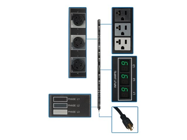 Tripp Lite Metered PDU 5.7kW 208 120V 3-phase 16A 0U L21-20P 6ft Cord (21) 5-15 20R (6) L6-20R Outlets