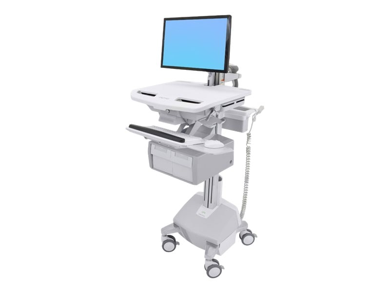 Ergotron StyleView Cart with LCD Arm, LiFe Powered, 2 Tall Drawers, SV44-12C2-1