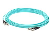 ACP-EP ST-ST 50 125 OM3 Multimode Duplex LOMM Fiber Patch Cable, Aqua, 10m, ADD-ST-ST-10M5OM3