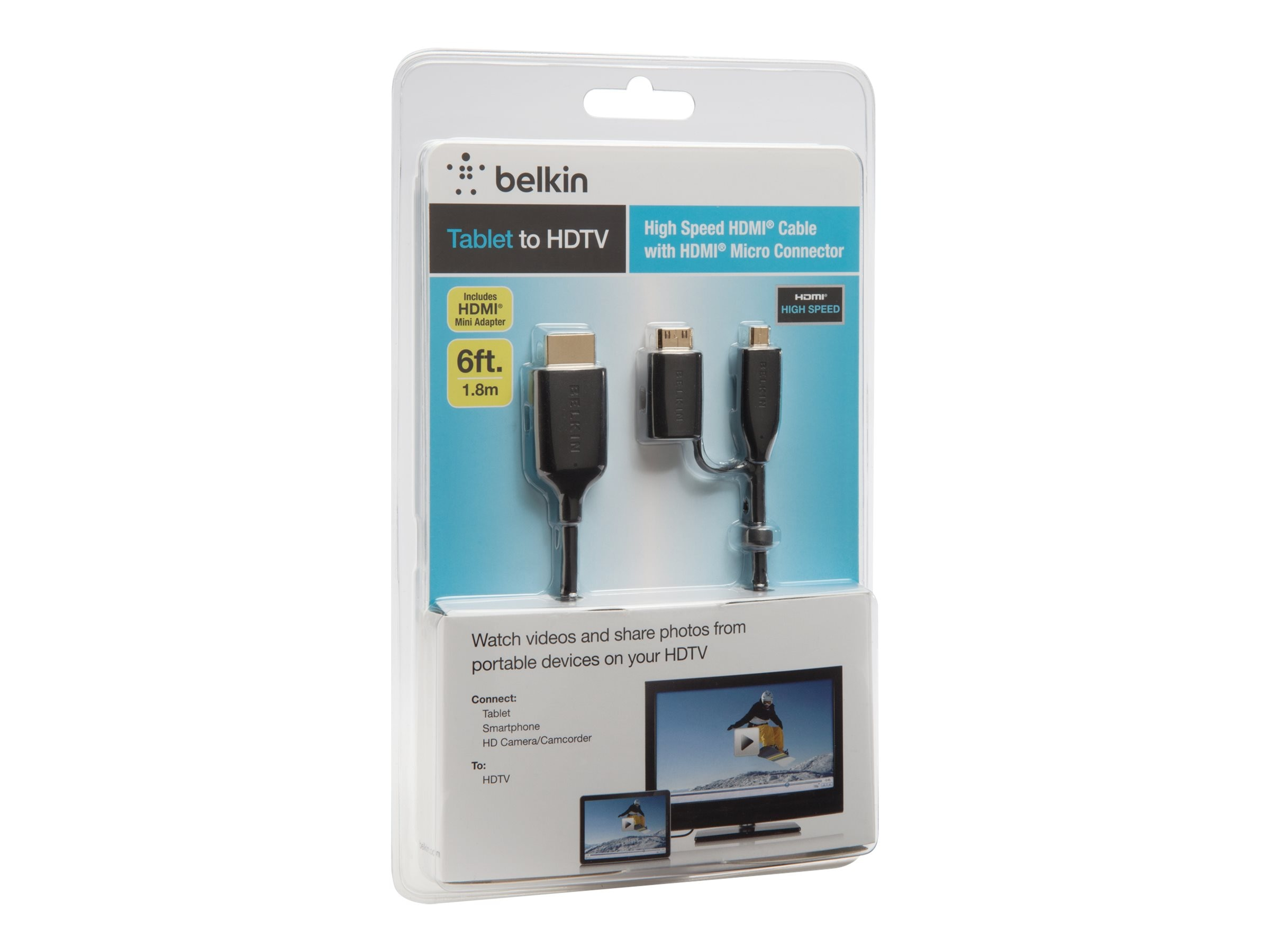 Belkin ProAV HDMI to MicroHDMI (M-M) Cable, 6ft