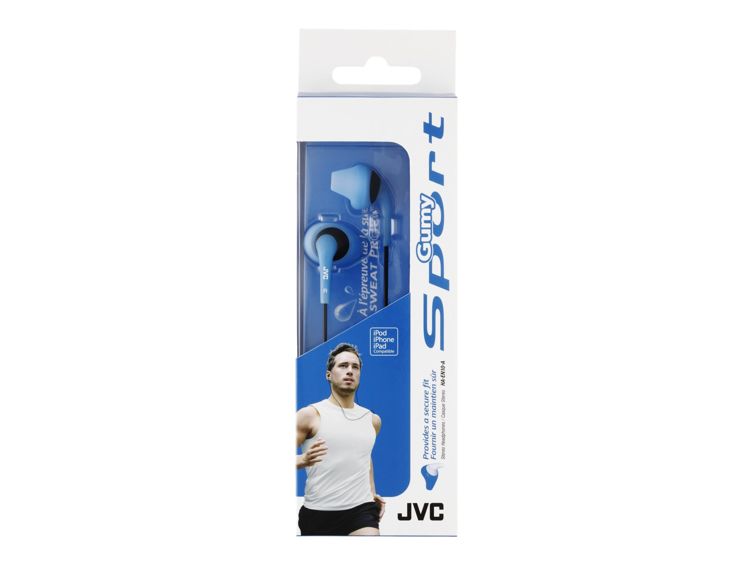 JVC GumySport SecureFit Sweattproof Headphones - Blue, HA-EN10-A-K