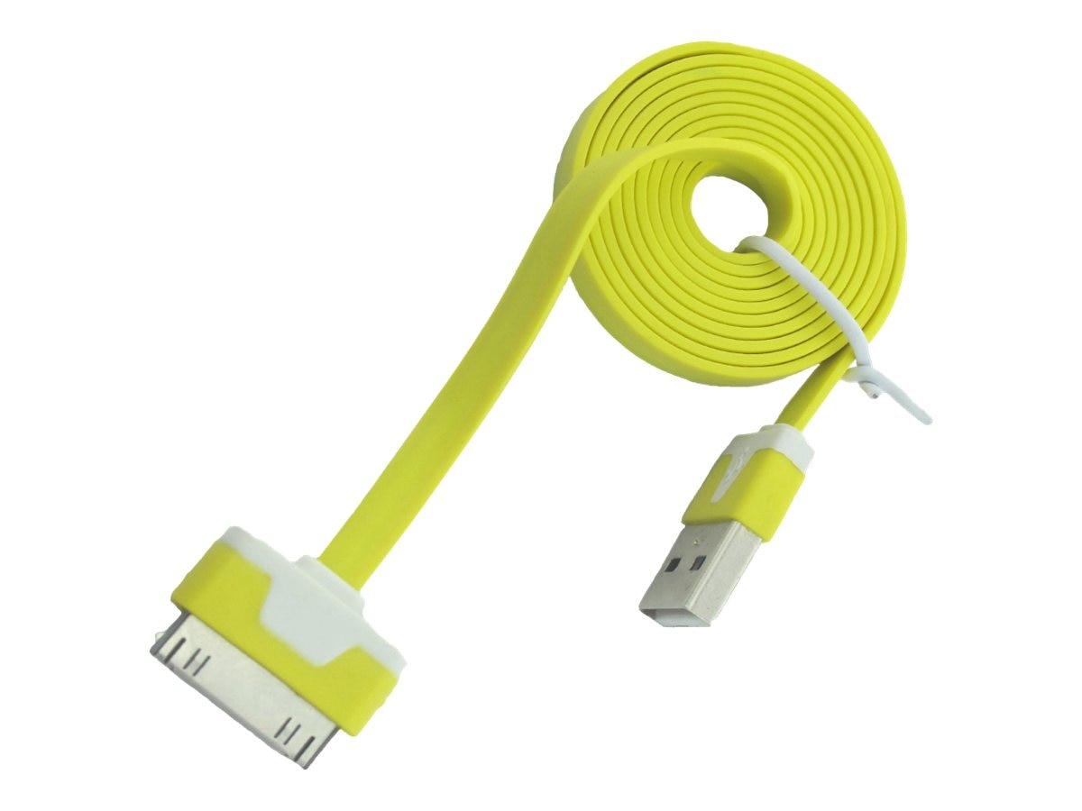 4Xem 30-pin Dock Connector to USB Type A M M Flat Cable, Yellow, 3ft