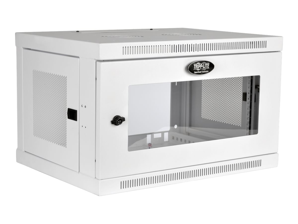 Tripp Lite SmartRack 6U Low-Profile Switch-Depth Wall-Mount Rack Enclosure Cabinet with Clear Window, White