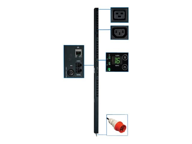 Tripp Lite Monitored PDU, 380 400V Input 220 230V 11kW 3-Ph, 0U, IEC-309 16A Red, (21) C13 (3) C19, 10ft Cord, PDU3XVSR10G16