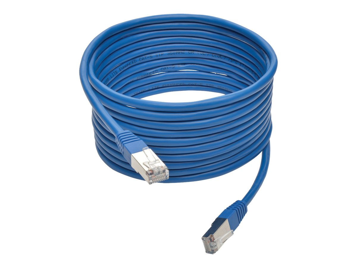Tripp Lite Cat5e 350MHz Molded Shielded STP Patch Cable, Blue, 15ft, N105-015-BL