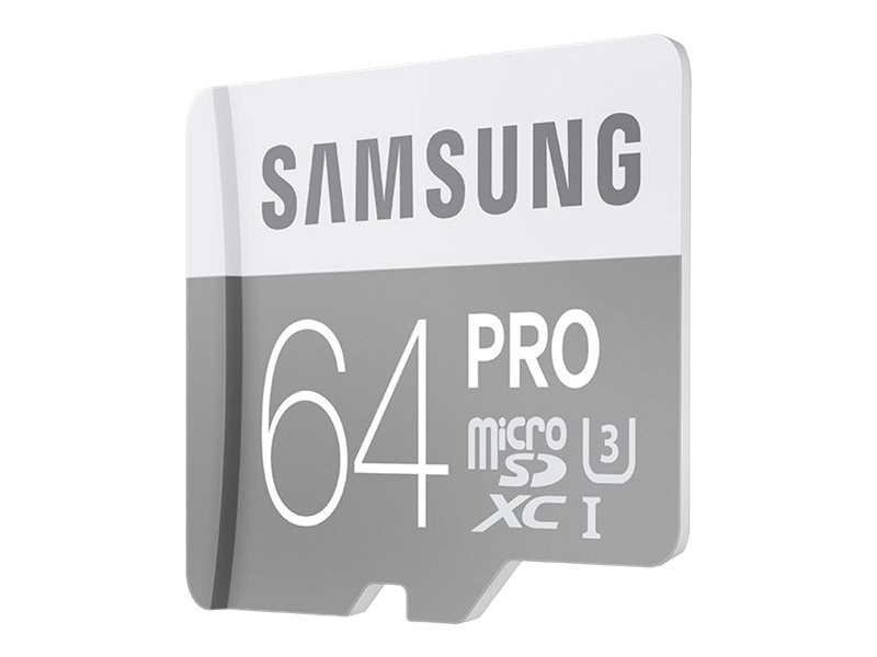Samsung 64GB Pro Micro SDXC U3 Flash Memory Card with SD Adapter, Class 10, MB-MG64EA/AM, 30546451, Memory - Flash