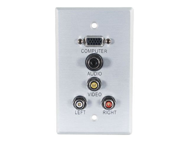 C2G Single Gang Wall Plate, HD-15 (Top), 3.5mm, Composite Video, Stereo Audio, Aluminum, 40490, 9948631, Premise Wiring Equipment