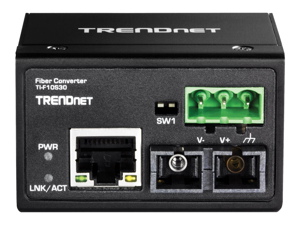 TRENDnet Hardened Industrial 100Base-FX Single-Mode SC Fiber Converter (30 km, 18.6 mi), TI-F10S30