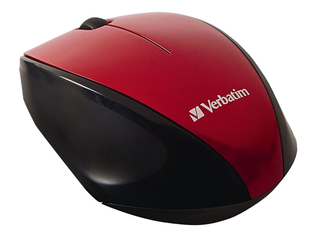Verbatim Multi-Trac Blue LED Mouse, Wireless, Optical, Red, 97995