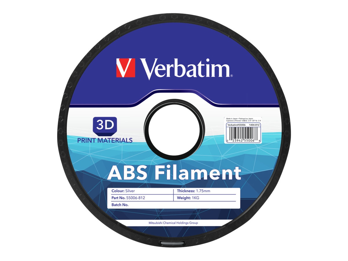 Verbatim Silver 1.75mm 1kg ABS 3D Filament, 55006