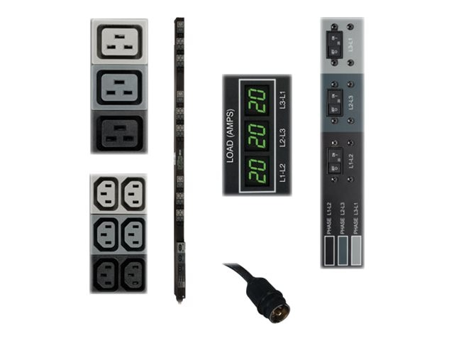 Tripp Lite Metered PDU 12.6kW 208V 3-phase 20A 0U RM Hubbell Input (36) C13 (9) C19