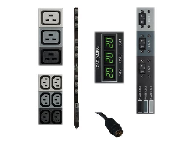 Tripp Lite Metered PDU 12.6kW 208V 3-phase 20A 0U RM Hubbell Input (36) C13 (9) C19, PDU3MV6H50, 14494591, Power Distribution Units