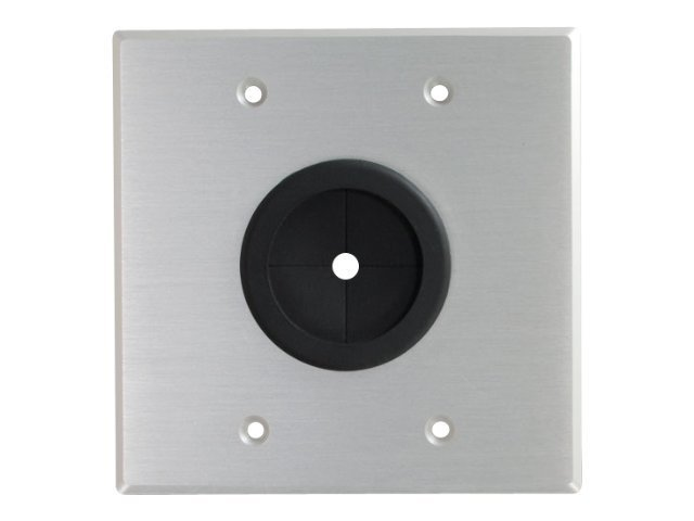 C2G Double-Gang Grommet Wall Plate, Bushed Aluminum, 40546, 10449717, Premise Wiring Equipment
