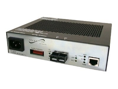 Transition PoE Media Converter, 100BaseTX to 100BaseFX 1300NM MMF ST 2KM, AC Power, SFEPE1011-100, 5706011, PoE Accessories