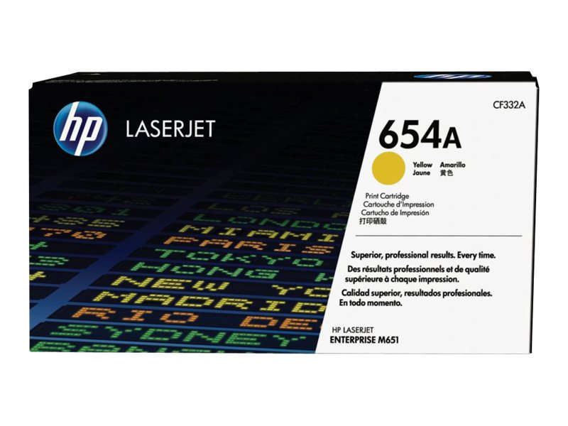 HP 654A (CF332A) Yellow Original LaserJet Toner Cartridge, CF332A, 16850755, Toner and Imaging Components