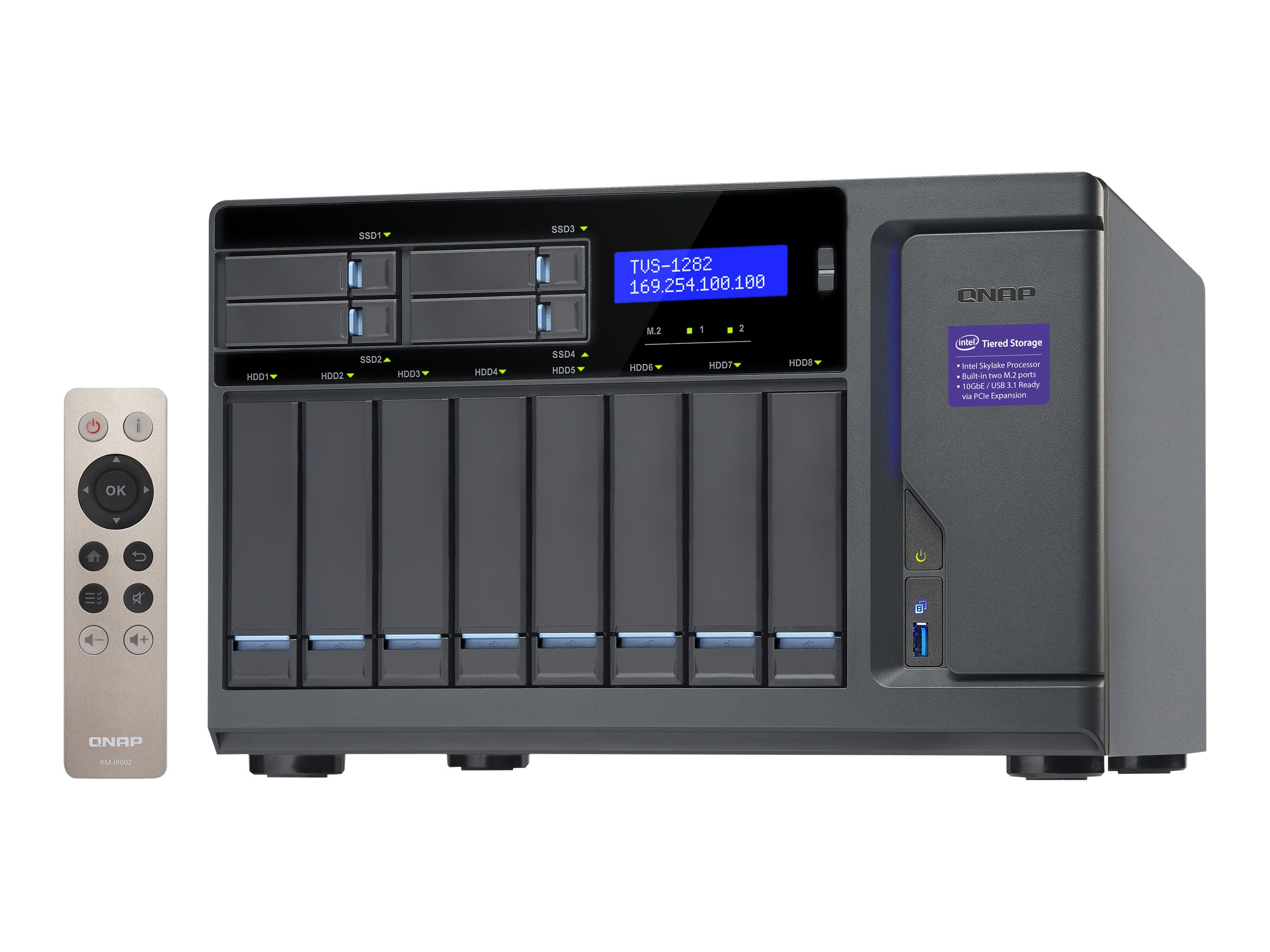 Qnap High Performance 12-Bay 8+4 NAS iSCSI IP-SAN w  Intel Skylake Core, TVS-1282-I732G450WUS