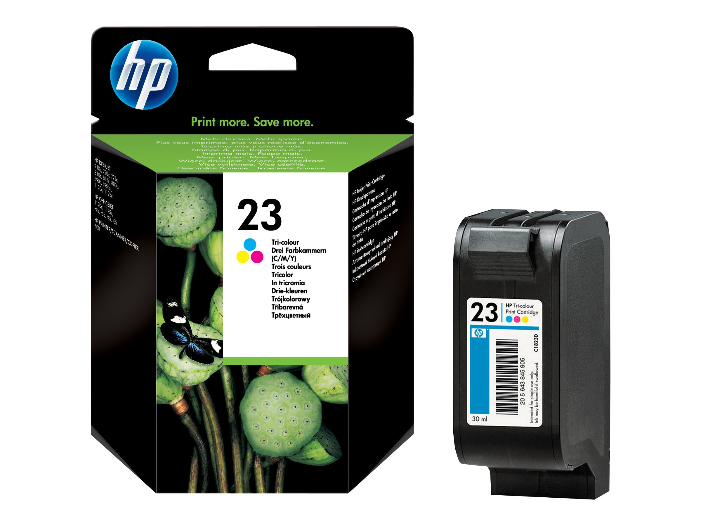 HP 23 (C1823D) Tri-color Original Ink Cartridge, C1823D, 113362, Ink Cartridges & Ink Refill Kits