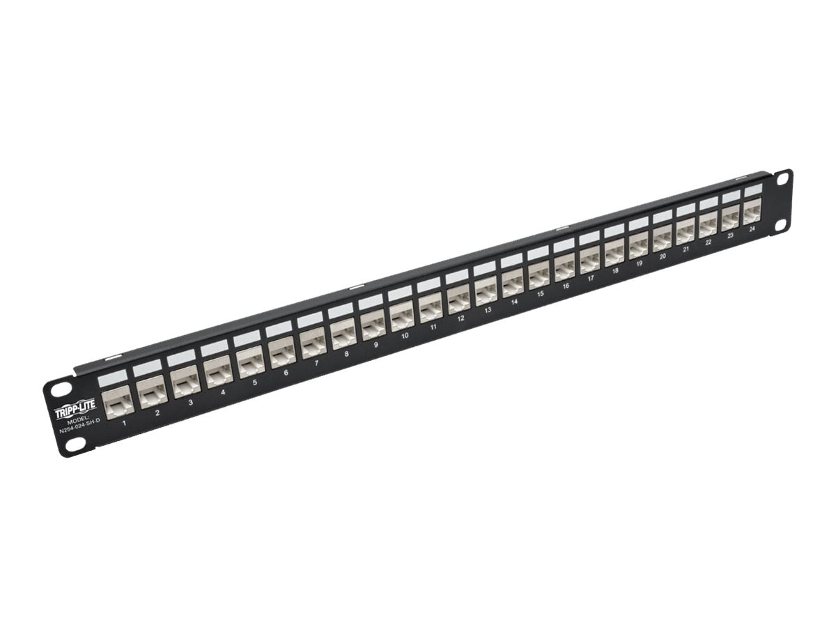 Tripp Lite 24-Port RJ45 Ethernet Rack-Mount STP Shielded Cat6a Feedthrough Patch Panel