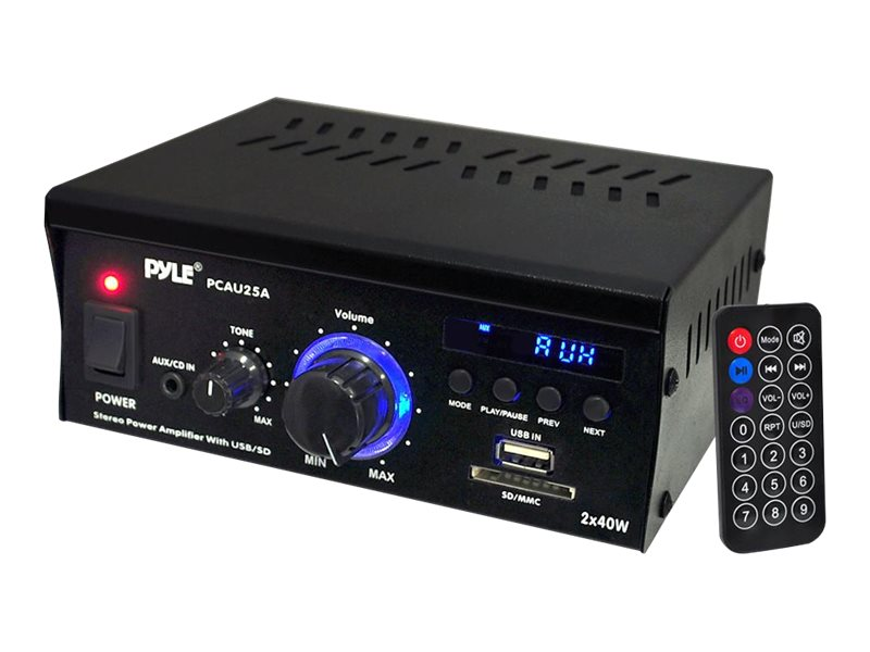 Pyle Mini 2X40 Watt Stereo Power Amplifier w  LED Display, PCAU25A