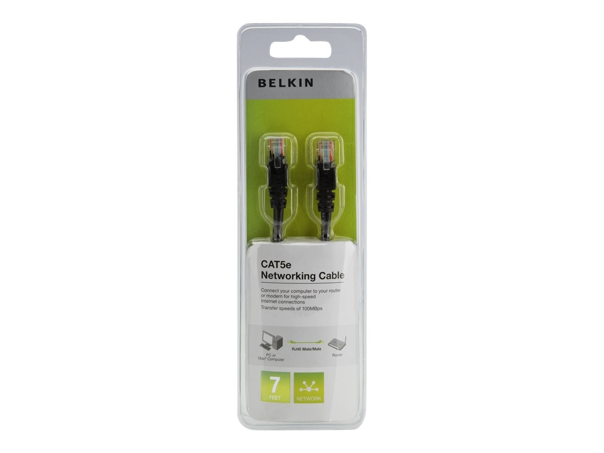 Belkin Cat5e UTP Patch Cable, Black, 7ft, PCF5-07BKS-SN