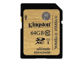 Kingston 64GB SDXC Flash Memory Card, Class 10, SDA10/64GB, 15616529, Memory - Flash
