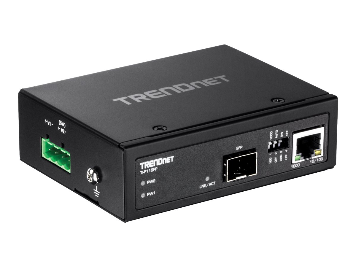 TRENDnet HARDENED INDUSTRIAL 100 1000 BASE-T TO SFP MEDIA CONVERTER, TI-F11SFP, 30719235, Network Transceivers