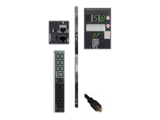 Tripp Lite Monitored PDU 5.8kW 208 120V 16A 3-phase 0U NEMA L21-20P Input 6ft Cord (36) C13 (6) C19 Outlets TAA, PDU3VN6L2120, 20217282, Power Distribution Units