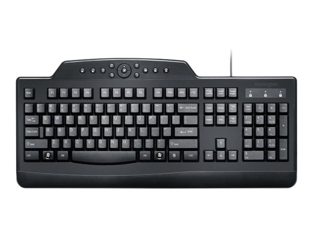 Kensington Pro Fit Wired Media Keyboard, USB, K72407US, 13550221, Keyboards & Keypads