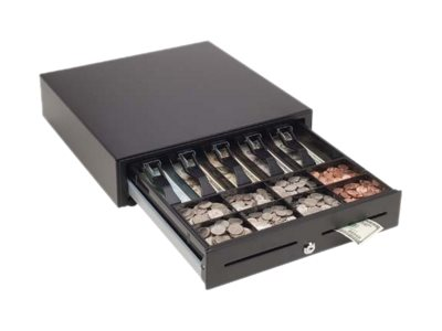 MMF POS VAL-u Line 16w x 16d 2 Media Slots 5-Bill 8-Coin Till Capacity, USB, Matte Black, MMFVL16USB04, 20521541, Cash Drawers