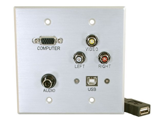 C2G Double Gang HD-15 3.5mm RCA USB Wall Plate, Brushed Aluminum, 40545, 10358541, Premise Wiring Equipment