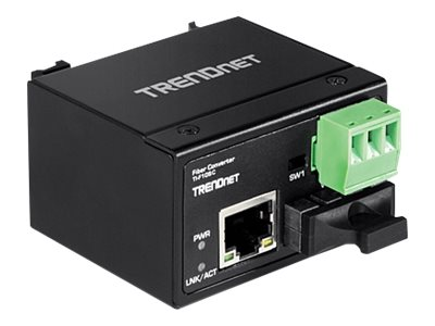 TRENDnet Hardened Industrial 100Base-FX Multi-Mode SC Fiber Converter (2 km, 1.2 mi)