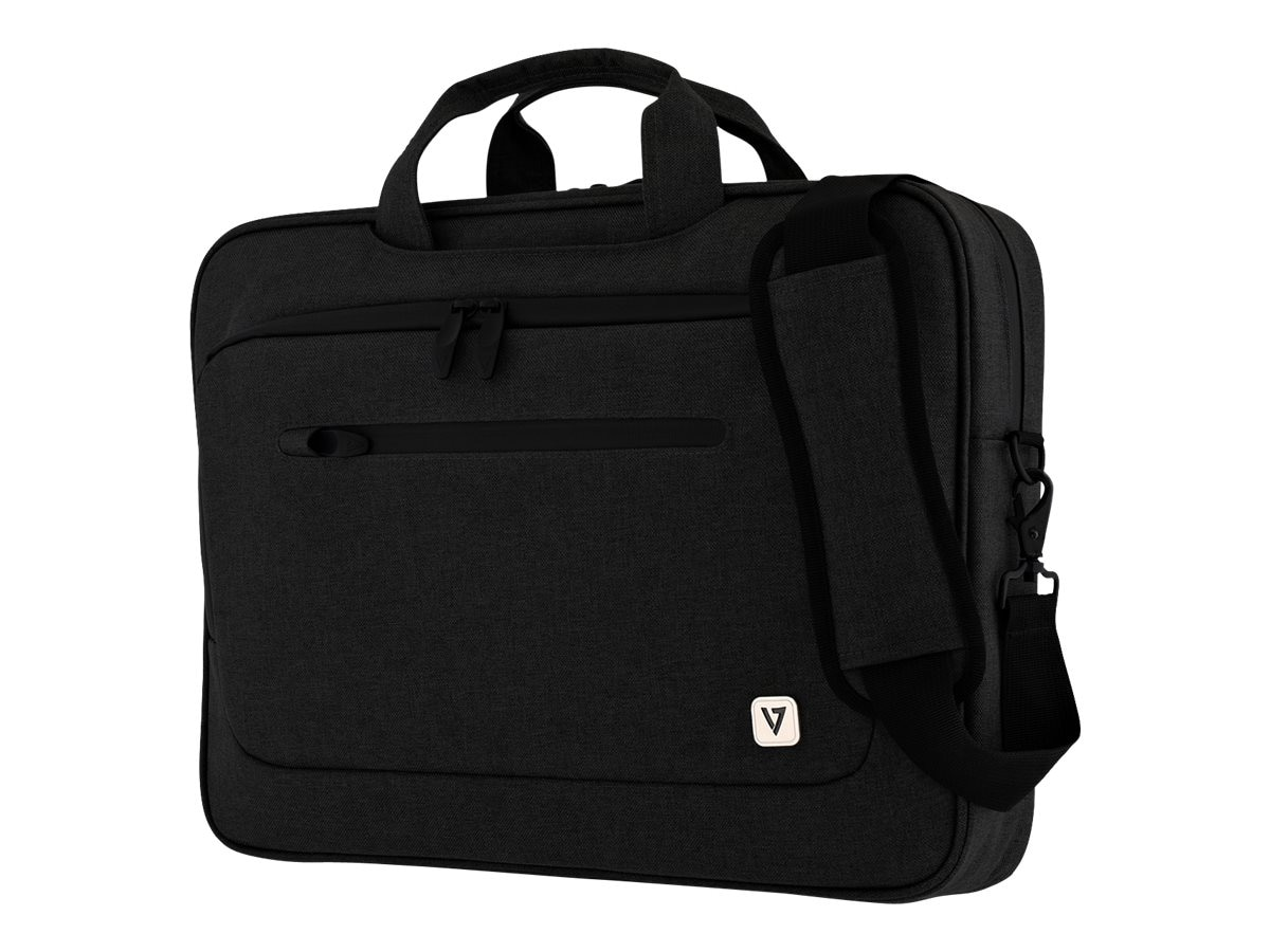 V7 Slim Briefcase w  Trolley Strap for 15.6 Laptop, Black