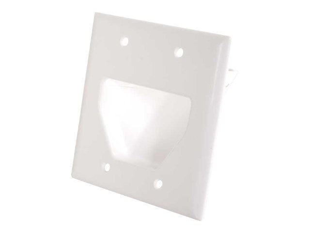 C2G Double Gang Recessed Low Voltage Cable Plate, White, 45038, 13277519, Premise Wiring Equipment