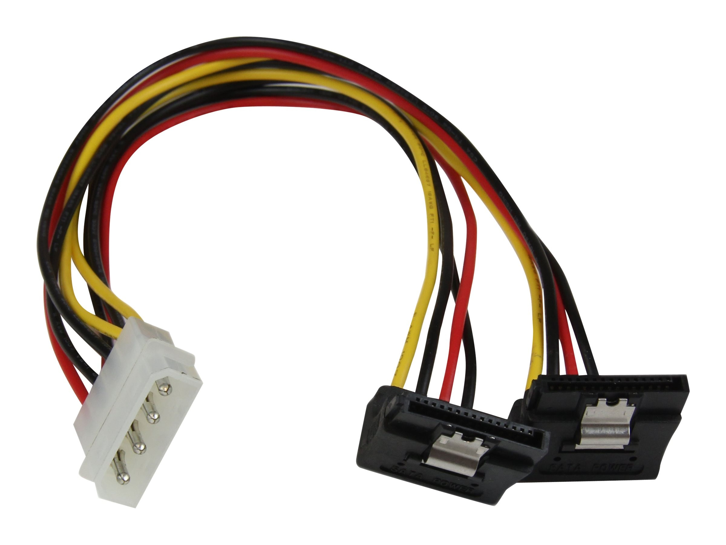 StarTech.com LP4 to 2x Right Angle Latching SATA Power Y Cable Splitter, 4 Pin Molex to Dual SATA, 12in, PYO2LP4LSATR
