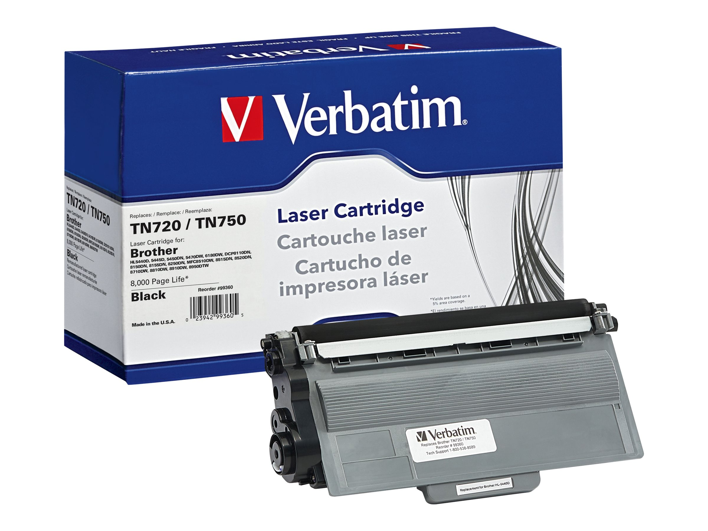 Verbatim TN720 TN750 Toner Cartridge for Brother, 99360
