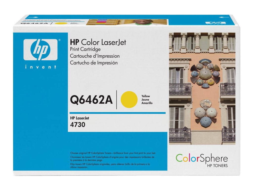 HP 644A (Q6462A) Yellow Original LaserJet Toner Cartridge for HP LaserJet 4730 MFP Series, Q6462A, 6023078, Toner and Imaging Components