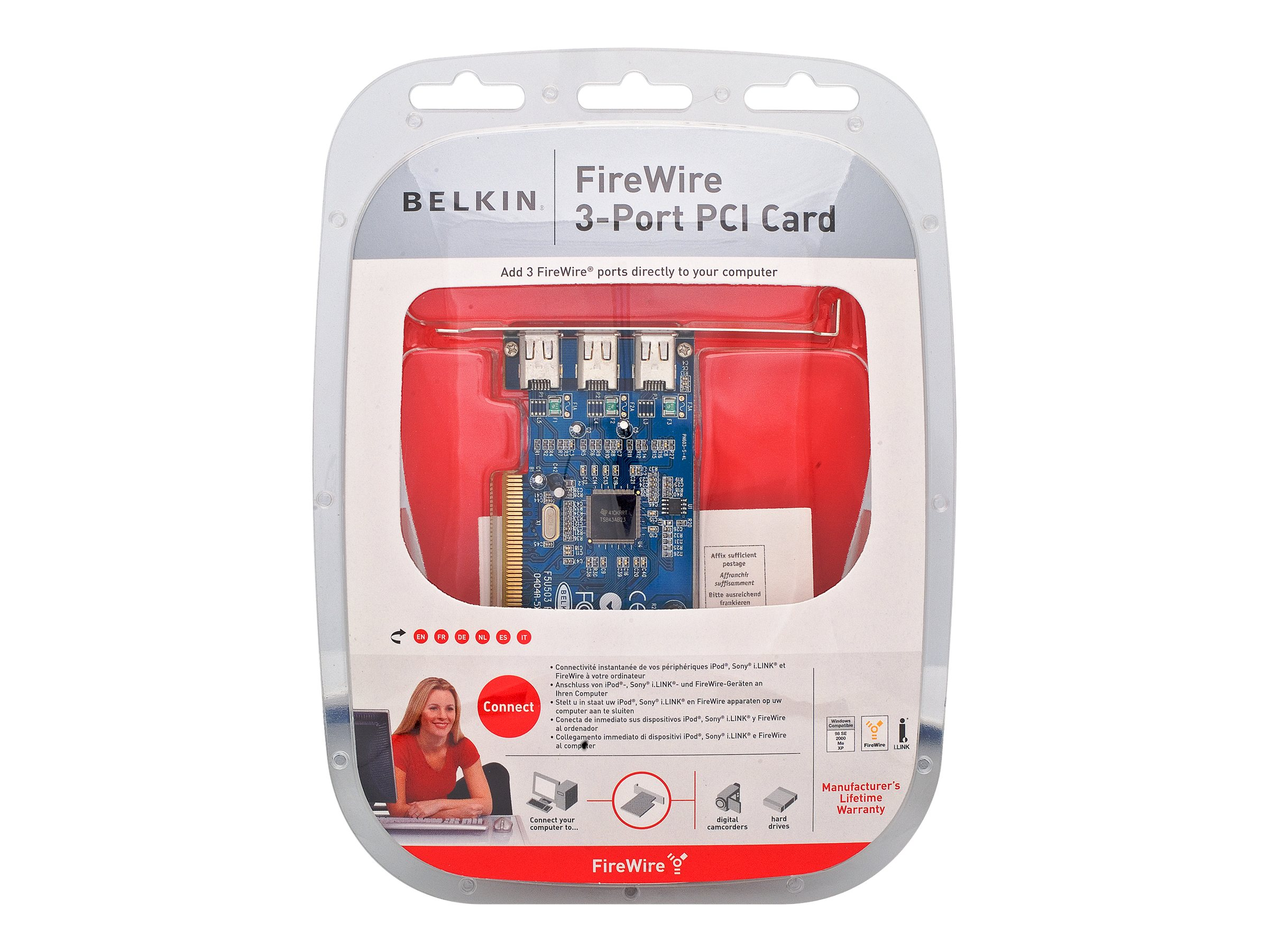 Belkin FireWire 3-Port PCI Card - Clamshell Packaging, F5U503V, 6647147, Controller Cards & I/O Boards