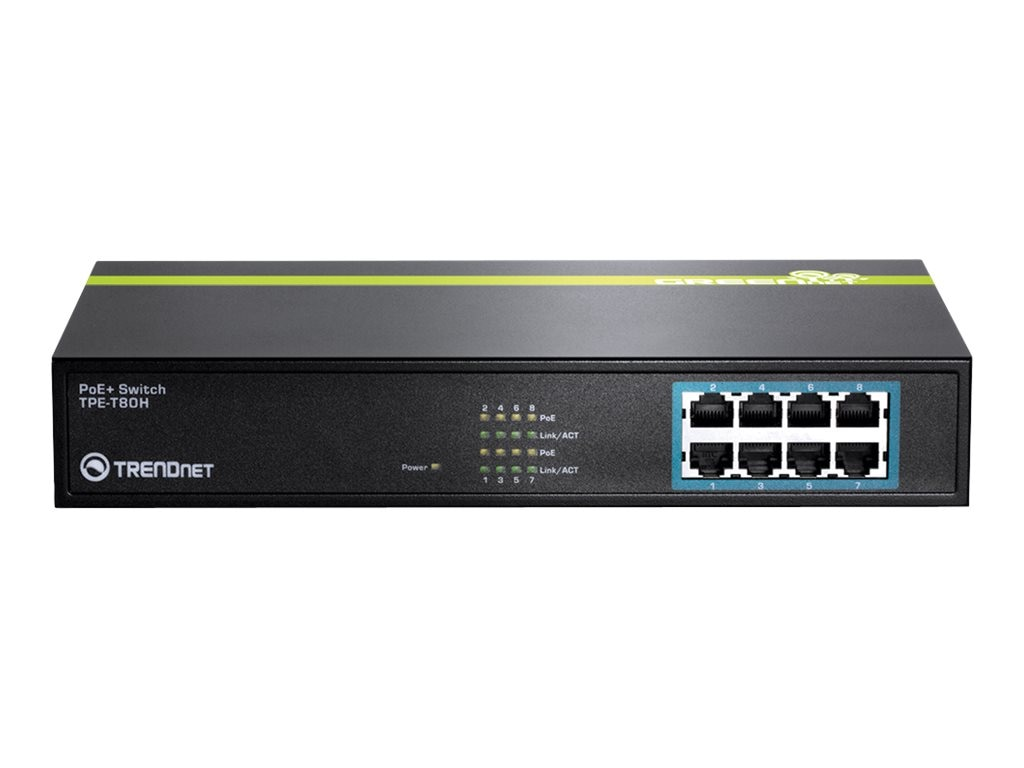 TRENDnet 8 Port FE 30W PoE Switch, TPE-T80H, 16645701, Network Switches