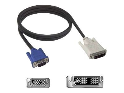 Belkin Single-Link DVI-I to VGA Adapter Cable, DVI-I (M) to HDDB15 (F), 3ft, F2E0162-03-SV, 8326890, Adapters & Port Converters