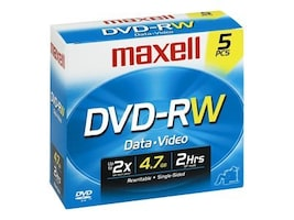 Maxell 4.7GB DVD-RW Media (5-pack Jewel Cases), 635125, 6796433, DVD Media