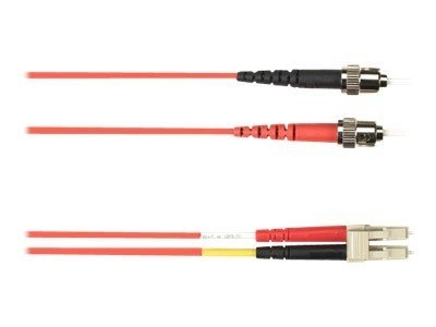 Black Box ST-LC 62.5 125 OM1 Multimode Fiber Optic Cable, Red, 10m, FOCMR62-010M-STLC-RD