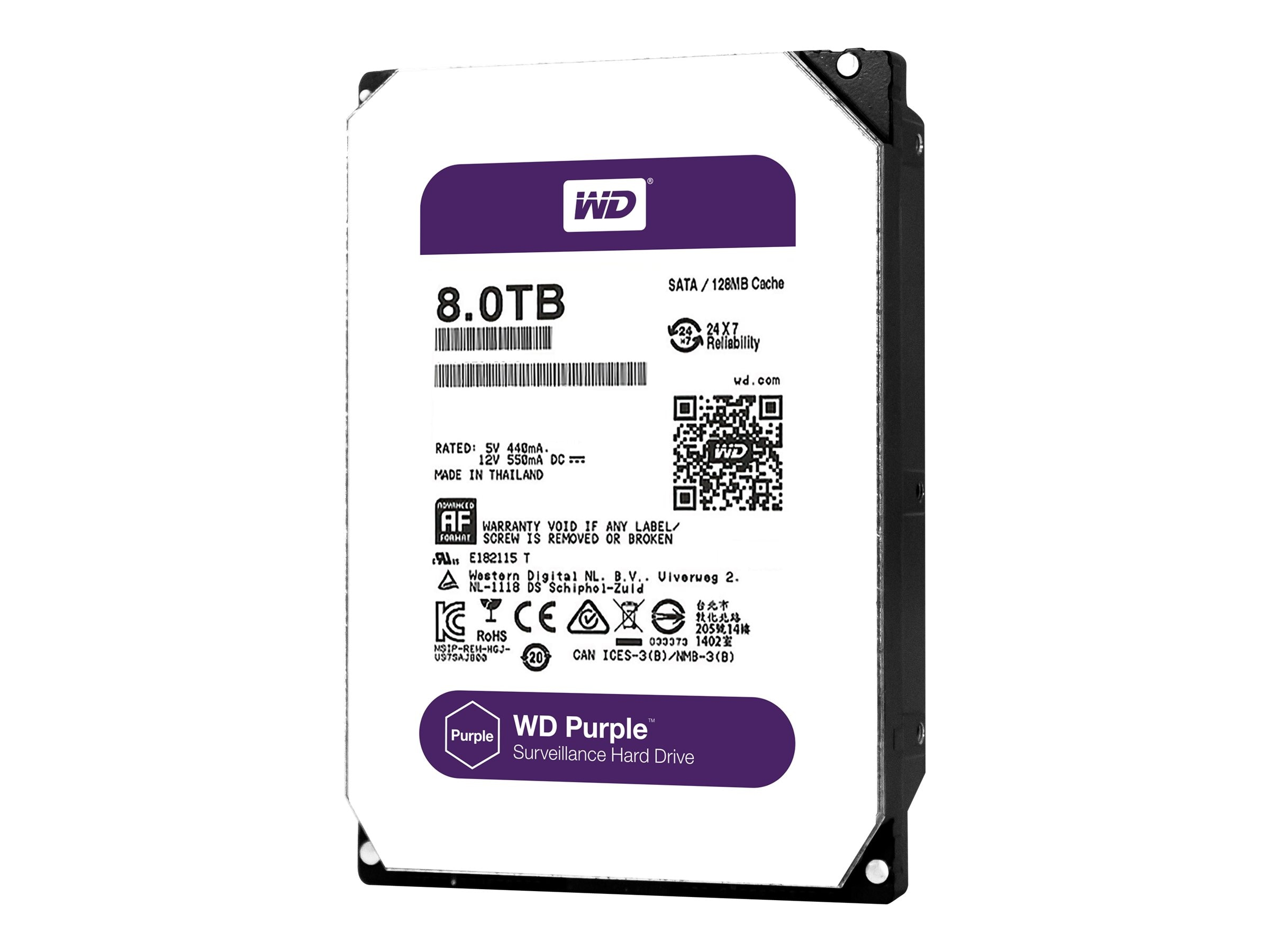 WD 8TB WD Purple SATA 6Gb s 3.5 Internal Hard Drive, WD80PUZX, 31662349, Hard Drives - Internal
