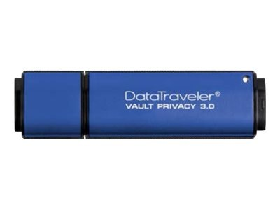 Kingston 8GB DataTraveler Vault Privacy 3.0 Flash Drive, Blue, DTVP30/8GB, 16399298, Flash Drives