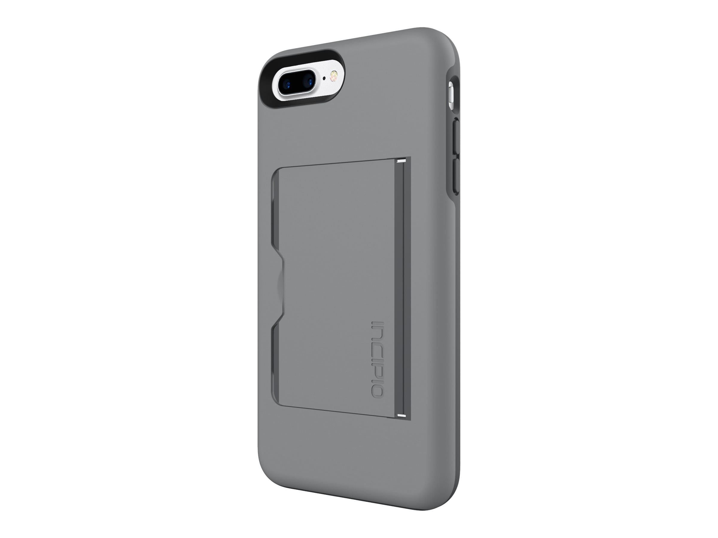 Incipio Stowaway Credit Card Case with Integrated Stand for iPhone 7 Plus, Gray Charcoal, IPH-1503-GYC
