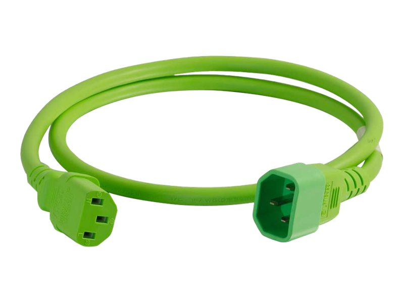 C2G Power Cord C14 to C13 14 3 SJT, Green, 8ft
