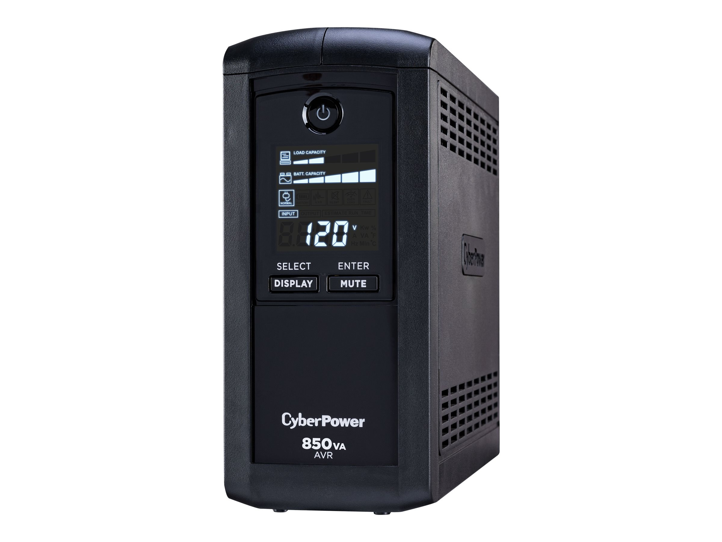 CyberPower 850VA 510W UPS with AVR, (9) Outlet RJ-11 RJ-45 Coax Tower LCD, Instant Rebate - Save $5, CP850AVRLCD