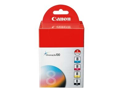 Canon Black Cyan Magenta Yellow CLI-8 Ink Cartridge Combo Pack (4 Cartridges), 0620B010, 6908087, Ink Cartridges & Ink Refill Kits